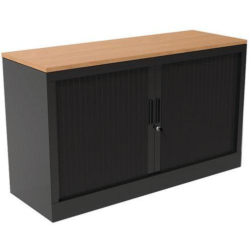Armoire à rideaux - Avec plateau supérieur - Noir