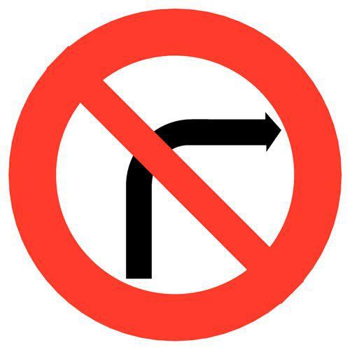 panneau de signalisation b2b interdiction de tourner droit. Black Bedroom Furniture Sets. Home Design Ideas