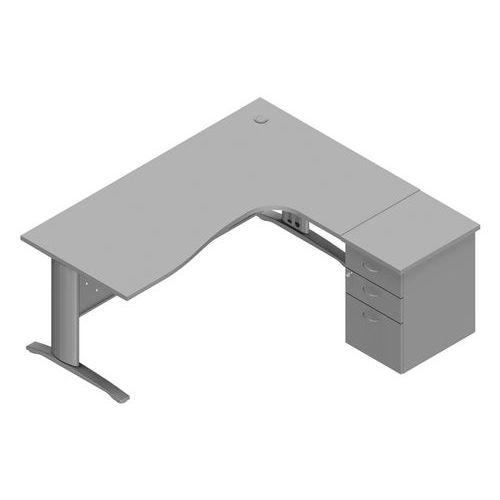 Bureau asymétrique avec voile et caisson Tétris