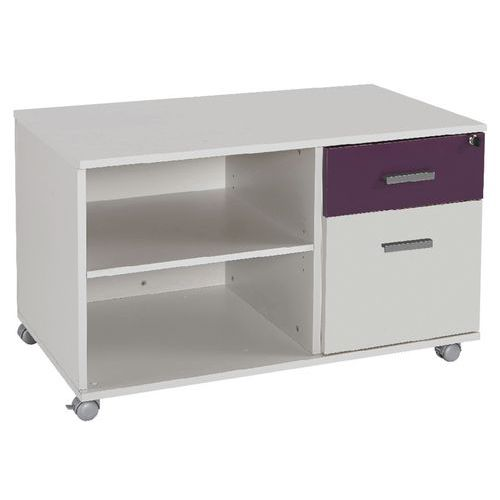 Console mobile 2 tiroirs blanc Lineo