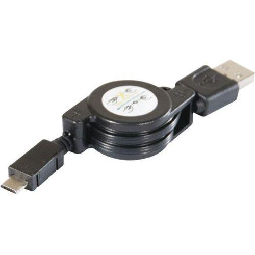 Cordon retractable usb 2.0 a / micro b noir 0,80 m