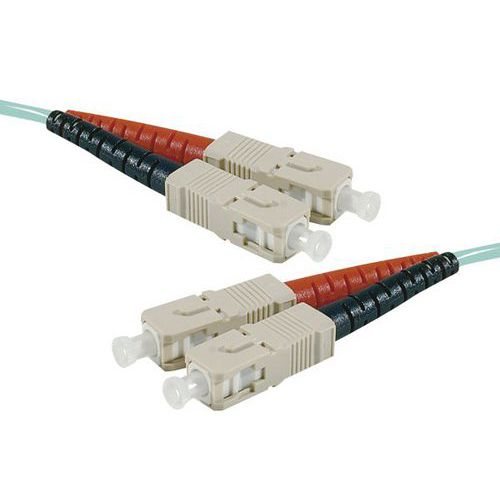 Jarretière duplex multi OM4 50/125 SC-UPC/SC-UPC aqua - 20 m