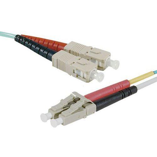 Jarretière duplex multi OM4 50/125 SC-UPC/LC-UPC aqua - 30 m
