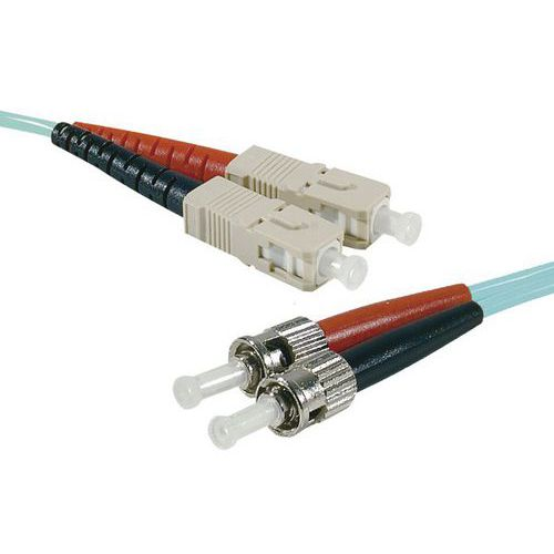 Jarretière duplex multi OM4 50/125 SC-UPC/ST-UPC aqua - 15 m