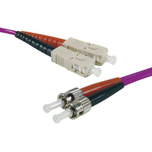 Jarretière duplex multi OM3 50/125 SC-UPC/ST-UPC violet 10 m