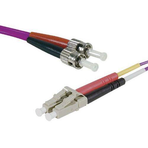 Jarretière duplex multi OM3 50/125 LC-UPC/ST-UPC violet -3 m
