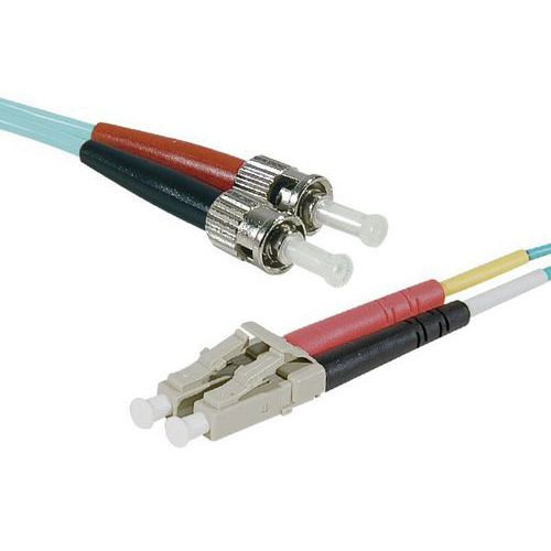 Jarretière duplex multi OM3 50/125 LC-UPC/ST-UPC aqua - 10 m