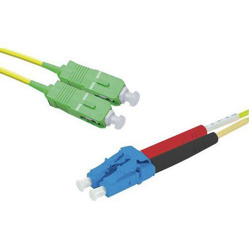 Jarretière duplex mono OS2 9/125 SC-APC/LC-UPC jaune - 2 m