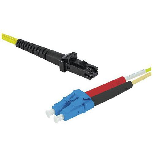 Jarretière duplex mono OS2 9/125 MTRJ-UPC/LC-UPC jaune - 2 m