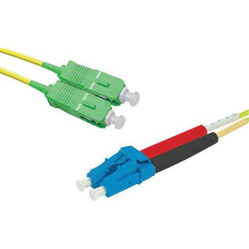 Jarretière duplex mono OS2 9/125 SC-APC/LC-UPC jaune - 1 m