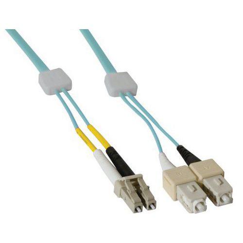 Jarretière duplex OM3 50/125 LC-UPC/SC-UPC aqua - 3 m