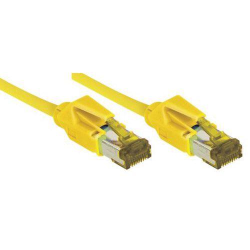 Cordon RJ45 câble catégorie 7 S/FTP LSOH snagless jaune 0,3m