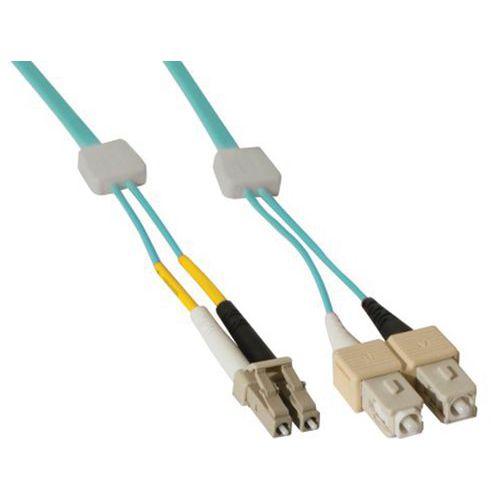 Jarretière duplex OM3 50/125 LC-UPC/SC-UPC aqua - 1 m
