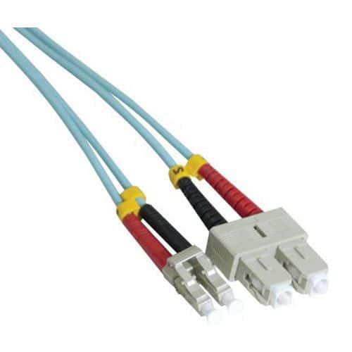 Jarretière duplex multi OM3 50/125 SC-UPC/LC-UPC aqua -0,5 m