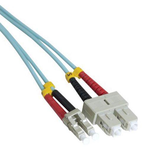 Jarretière duplex multi OM3 50/125 SC-UPC/LC-UPC aqua - 3 m