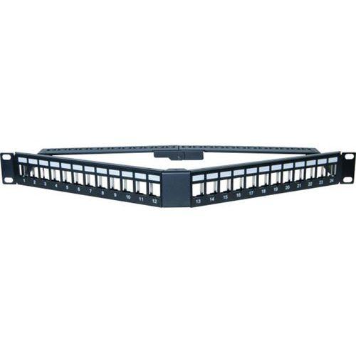Panneau 1U angulaire 24 ports STP keystone avec supp cables