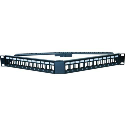 Panneau 1U angulaire 24 ports UTP keystone avec supp cables