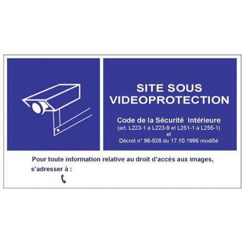 Panneau en PVC pour signalisation d'une vidéosurveillance