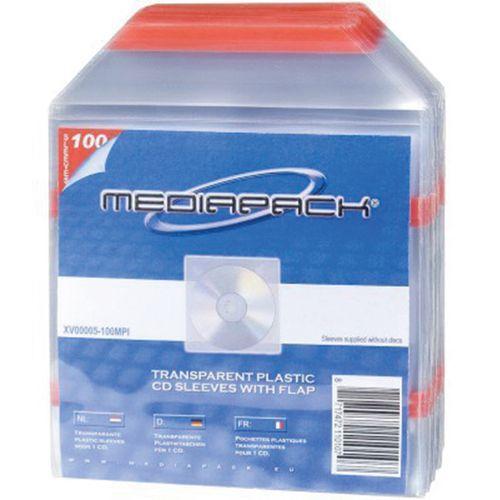 Pochettes plastiques avec Rabat pour 1 CD dos adhésif