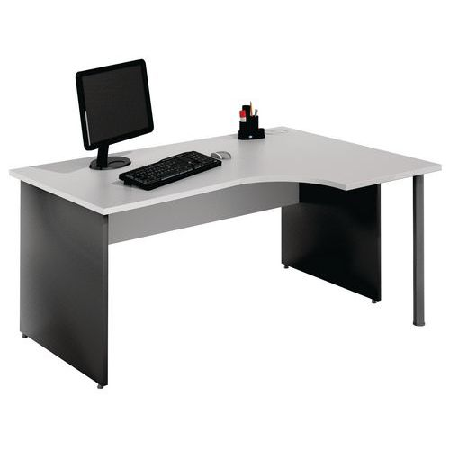 bureau compact pi tement panneau gris clair anthracite man. Black Bedroom Furniture Sets. Home Design Ideas