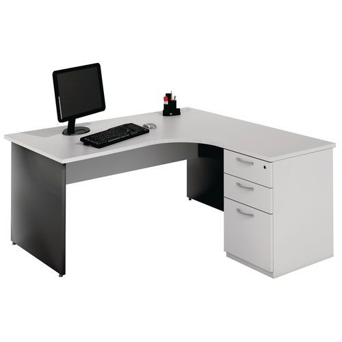 bureau compact avec caisson pi tement panneau gris clair ant. Black Bedroom Furniture Sets. Home Design Ideas