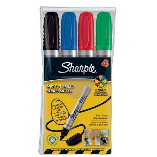 Marqueur permanent Sharpie Pro Métal - Assortis - Pochette de 4
