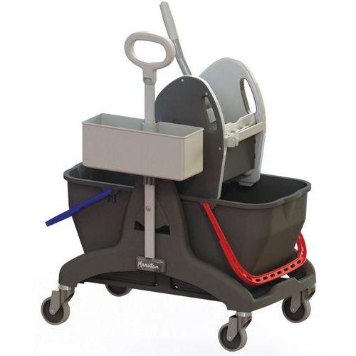 Chariot de lavage 2 x 15 L avec bac produit - Presse et Poignée latérale - Manutan