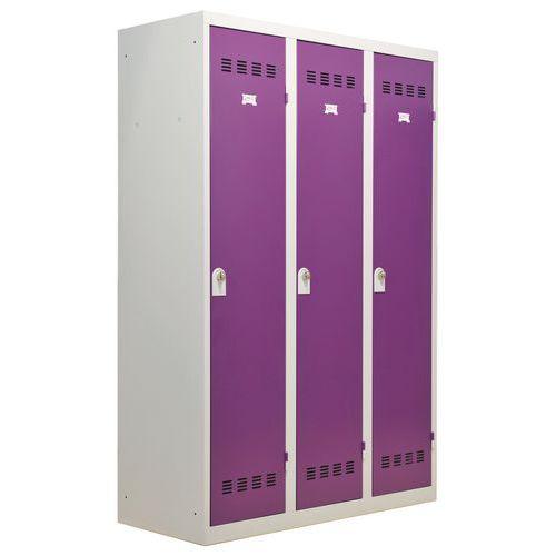 Vestiaire industrie salissante - Largeur 400 mm - 3 colonnes - Vinco