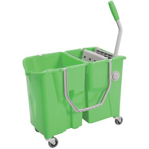Chariot de lavage double seau 2 x 15 L avec presse à plat - Manutan