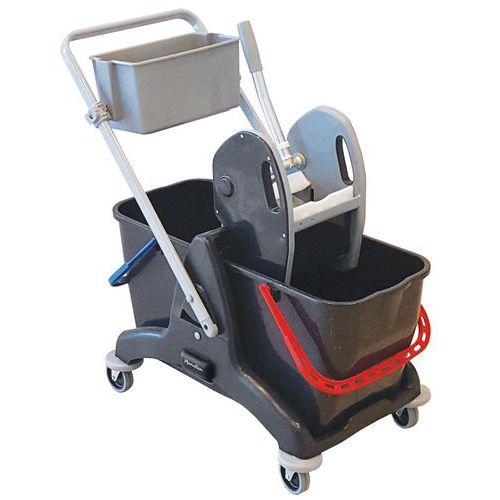 Chariot de lavage avec presse - 2 x 15 L - Manutan