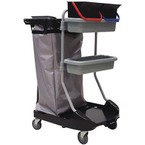Chariot de ménage avec porte-sac - 2 plateaux et 2 seaux - Manutan