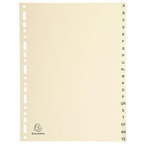 Intercalaires carte peau 155g 20 positions de a à z A4