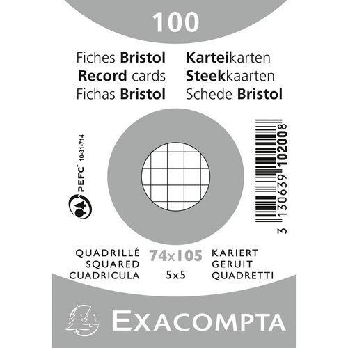 Paquet 100 fiches bristol quadrillé 5x5 non perforé 74x105mm
