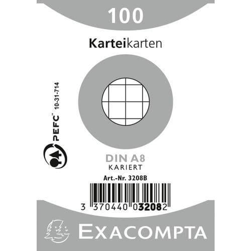 Paquet 100 fiches sous film bristol quadrillé 55x74mm