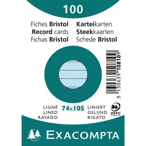 Paquet 100 fiches bristol ligné non perforé 74x105mm