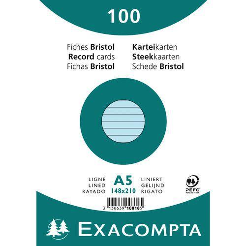 Paquet 100 fiches bristol ligné non perforé 148x210mm