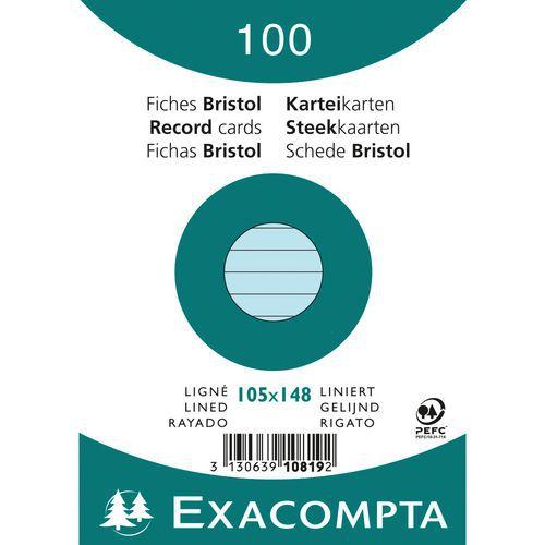 Paquet 100 fiches bristol ligné non perforé 105x148mm