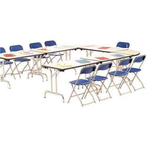 Table modulaire pliante - Piètement chromé - Demi-cercle