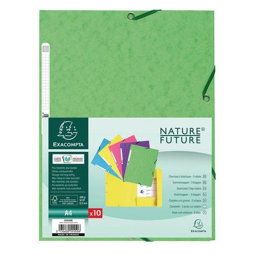 Chemise 3 rabats à élastiques carte lustrée 400g/m2 ® A4