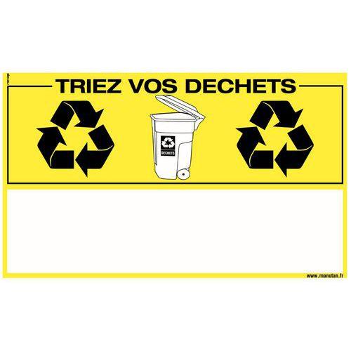 Panneau de signalisation développement durable - Triez vos déchets - Rigide