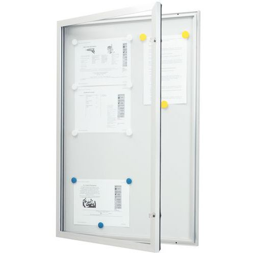Vitrine d'extérieur porte battante - Fond aluminium - Porte en verre de sécurité