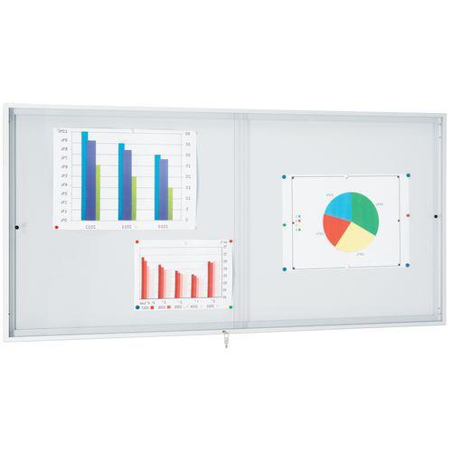 Vitrine d'intérieur portes coulissantes - Fond aluminium - Porte en plexiglass