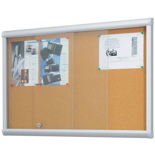 vitrine d'intérieur portes coulissantes leader - fond liège - porte