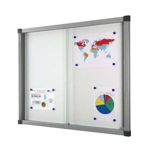 Vitrine d'intérieur Cube - Fond aluminium - Porte en verre de sécurité