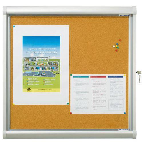 Vitrine d'intérieur  Design -  Fond liège - Porte en verre de sécurité
