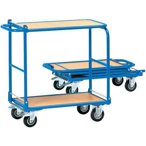 chariot plateaux bois pliable 2 plateaux force 150. Black Bedroom Furniture Sets. Home Design Ideas