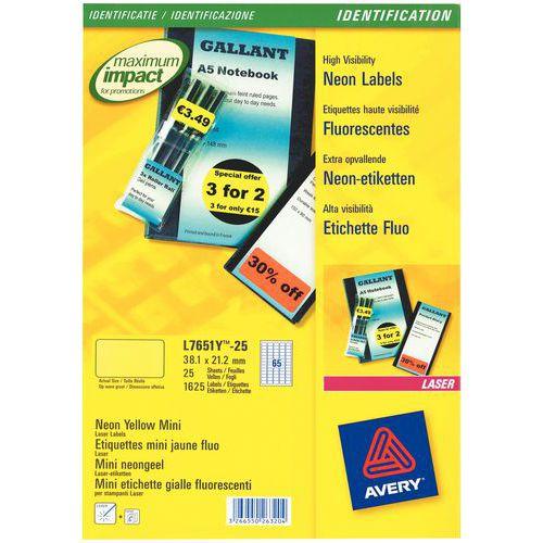 Étiquette fluorescente repositionnable Avery - Impression laser