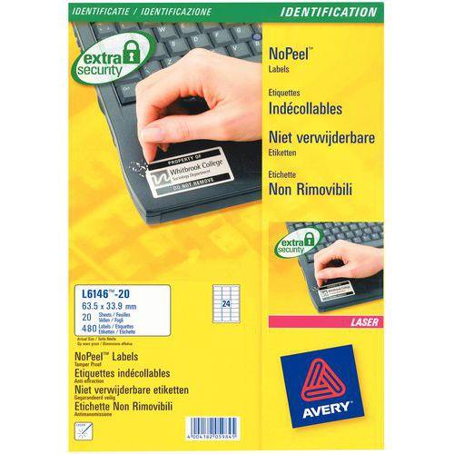 Étiquette indécollable - Impression laser