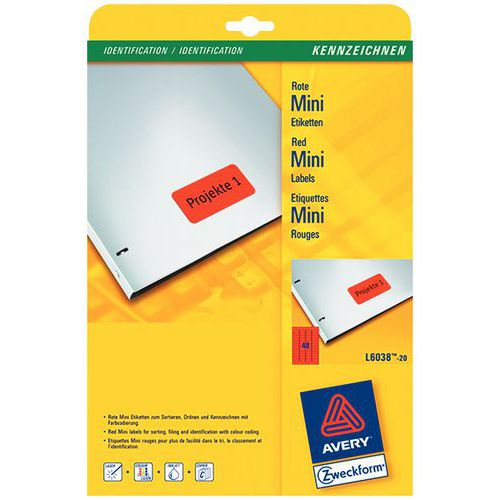 Étiquette couleur repositionnable Avery - Impression laser / jet d'encre, copieur