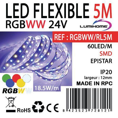Rouleau 5m Strip LED RGBWW 24V_Lumihome